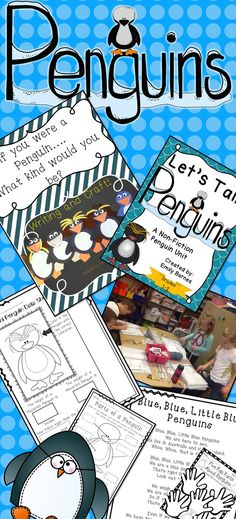 Penguins! Penguin Activities. Common Core Aligned Grades 1-2. Crafts, Math, writing, and soo much more. Poems!