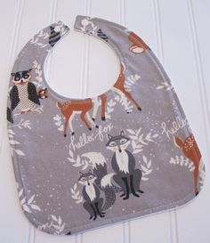 Baby Bib/Infant18 mo./Oh Hello in Fog/Organic by SweetbugStudio