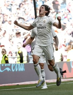 MADRID, SPAIN - MAY Jesus Vallejo of Real Madrid celebrates after scoring a goal during La Liga match between Real Madrid and Villarreal at Santiago Bernabeu Stadium in Madrid, Spain on May (Photo by Burak Akbulut/Anadolu Agency/Getty Images) Soccer Pictures, Gareth Bale, Nike Football, Real Madrid, Scores, Goals, Running, Celebrities, Spain