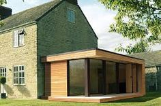 Modern and Eco-friendly Garden Office - An Ideal Solution to Working from Home Garage Extension, House Extension Design, Glass Extension, Extension Ideas, Prefab Extensions, House Extensions, Cedar Cladding, Spanish House, Garden Buildings