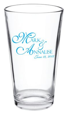 144 Personalized Custom Wedding Favor Glass Pub Pint by Factory21, $319.68