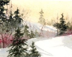 Christmas card watercolor Christmas card by ClaudeCoteArt on Etsy                                                                                                                                                                                 More