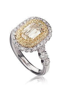 L'Amour Crisscut diamond engagement ring with white and yellow round diamonds set in 18K White/Yellow Gold. Price excludes center stone