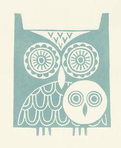 Pale green owls lino print