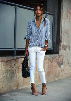 stripes shirt white jeans