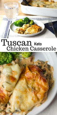My Tuscan Chicken Casserole has a creamy sun-dried tomato sauce with chicken spinach and provolone cheese. It is incredible. Low Carb Grain Free THM S Keto Gluten-Free Easy Kid Approved! Lunch Recipes, Low Carb Recipes, Diet Recipes, Cooking Recipes, Recipies, Dessert Recipes, Free Keto Recipes, Low Carb Sauces, Zoodle Recipes