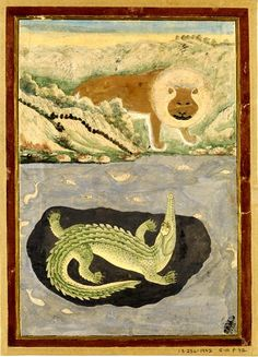 Painting, in watercolour on paper, depicting a lion standing on the bank of a river from which a crocodile returns the lion's gaze. Place of Origin  India. Rajasthan, India. Date  19th century. http://collections.vam.ac.uk/item/O432116/painting-unknown/