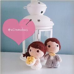 Cute chibi wedding dolls bride and groom by elinmakes. (Inspiration).