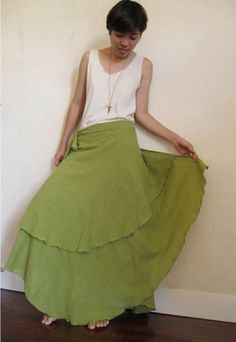 Olive Green Cotton Boho Two Layers Circle Wrap Skirt M by siam2u