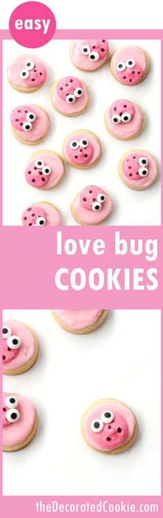 LOVE BUG COOKIES -- easy decorated cookies for Valentine's Day - Cute and easy love bug cookie bites! Fun decorated cookies for Valentine's Day. Valentine Desserts, Valentines Day Treats, Valentine Cookies, Valentine Day Crafts, Christmas Cookies, Valentines Recipes, Funny Valentine, Cookies For Kids, Candy Melts