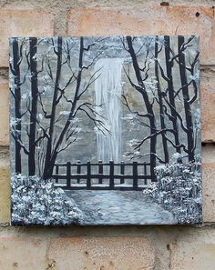 Original painting, Small painting, Wall painting, Home decor, Acrylic painting, Miniature painting, Waterfall, Waterfall in the woods Original acrylic, Gift, for him, For her   Waterfall. Forest lake. On the bridge...  This small painting canvas. Canvas o