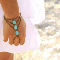 Boho Slave Bracelet Hand Bracelet Ring Hipster Bronze Chain Bohemian Three Turquoise Beads Triangle Chevron Hand Jewelry Piece