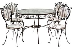 Wrought Iron Table & Chairs, 5 Pcs