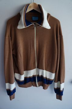 Vintage 70's Tracksuit Top - Brown / Tan - Medium / Large -  FREE SHIPPING (Item T33) Track Jacket Unisex 80s