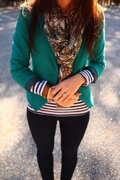 Striped shirt + bright jacket