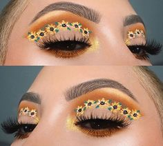 Sonnenblumen Make-up! Sonnenblumen Make-up, Sonnenblumen Make-up Inspiration! Makeup Eye Looks, Eye Makeup Art, Cute Makeup, Eyeshadow Looks, Pretty Makeup, Skin Makeup, Glitter Eyeshadow, Awesome Makeup, Gel Eyeliner