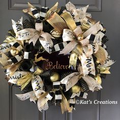Believe Christmas Reindeer Wreath, Black Gold Elegant Holiday Front Door Decor, Merry Xmas Porch Dec Wreaths For Sale, Holiday Wreaths, How To Make Wreaths, Winter Wreaths, Wreath Boxes, Diy Wreath, Tulle Wreath, Wreath Ideas, Gold Christmas