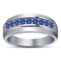 Blue Sapphire White Gold Plated Men's Wedding Band 0.85 Carat   (Ring Size 7-14) #aonejewels
