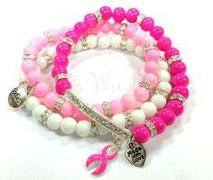 Breast Cancer Beaded Bracelet Set Pink Ribbon by RandRsWristCandy $14