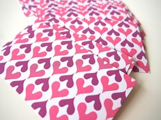 our iconic hearts pattern in pink and purple.