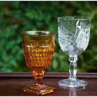 Vintage Amber Colored Glass Goblets  are so elegant for your event! Dixie Does Vintage China and Glassware Rentals
