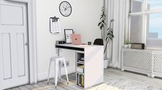 "MXIMS  CB2 Public High Table/Desk Small Black/White Prints Digital Alarm Clock Sarah R Bock Marble Wall Clock Radiator Cover ( Says ""debug"" in game ) Clipped Calendar Curio Barstool recolors"
