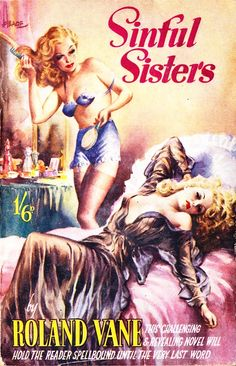 """SINFUL SISTERS"" by Roland Vane, Heade cover art.  Vintage Pulp Fiction Paperback Book.  Pin-up Art."