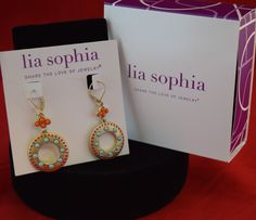 Lia Sophia Earrings- gold circle w/turquoise accents