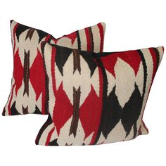 Pair of Navajo Indian Weaving Geometric Pillows | From a unique collection of antique and modern native american objects at https://www.1stdibs.com/furniture/folk-art/native-american-objects/