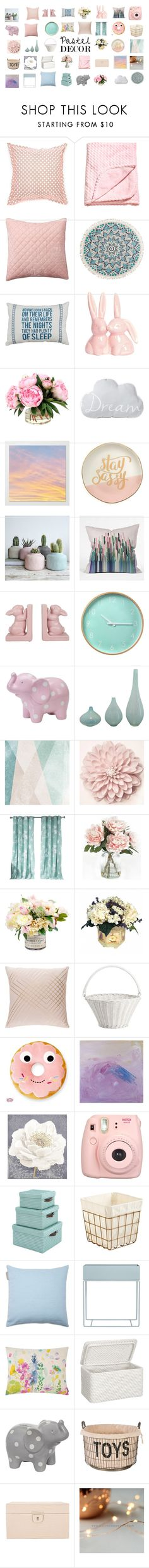 """""""Pastel Decor"""" by clothes10101 ❤ liked on Polyvore featuring interior, interiors, interior design, home, home decor, interior decorating, Jonathan Adler, Pottery Barn, Billabong and Slant"""