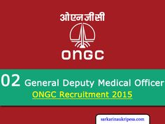 ONGC Recruitment 2015 for Medical Officer