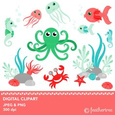 Sea creatures clipart  Seahorse  Fish  Octopus  by feathertree