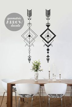 2 Geometric Arrow Decals  Large Geometric Wall por WallAffection