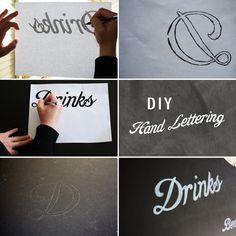 For the bar: DIY Hand-Lettering Chalkboard Menu (black foam board, white paint marker, graphite, vintage frame)