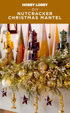 Combine festive pieces like nutcrackers and stars with garland to create quick and easy mantel decor!
