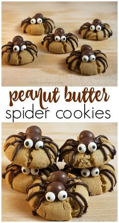 Make peanut butter spider cookies for a halloween treat! A fun halloween dessert. Make peanut butter spider cookies for a halloween treat! A fun halloween dessert thats easy enough for the kids to m Bolo Halloween, Postres Halloween, Dessert Halloween, Halloween Party Snacks, Holiday Snacks, Halloween Goodies, Snacks Für Party, Spooky Halloween, Halloween Brownies