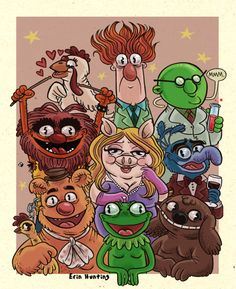 I like whats going here with Erin Huntings Muppets. Kermits wall-eyed stare works for me.