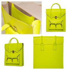 Neon Yellow medium size tote bag practical for daily use in side the Pelham bag is spacious with a medium size pocket with the Tomas Brilliance logo embossed at the centre of the pocket  #bag #handbag #tote #neonyellow