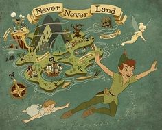 Never Never Land with Peter Pan and Tinkerbell