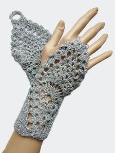 Plata Crochet guantes sin dedos guantes mitones, boda nupcial mano joyería Fishnet mujer para ella