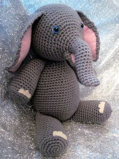 Crocheted Amigurumi Elephant Pattern.