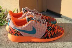 Wolf Grey/Tribal Orange Custom Nike Men Women Roshe by LeedasWorld