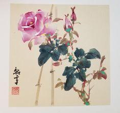 Chinese Brush, Chinese Art, Peony Rose, Chinese Painting, Asian Art, Peonies, Watercolour, Decoupage, Drawings