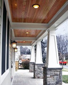Craftsman Porch Railing Designs Design, Pictures, Remodel, Decor and Ideas - stone porch columns House Design, New Homes, Craftsman Porch, Porch Railing Designs, House Plans, Exterior Design, Craftsman Bungalows, Green Siding, House Exterior