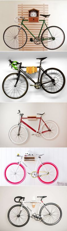 DIY Bike Wall Storage Racks Which one do you like the best Bike Wall Storage, Diy Storage Rack, Diy Garage Storage, Food Storage, Range Velo, Ideias Diy, Diy Interior, Diy Organization, Diy Furniture