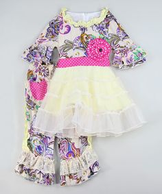 Loving this Cream Paisley Dress & Pants - Infant, Toddler & Girls on #zulily! #zulilyfinds