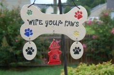 Handcrafted Ceramic Wipe Your Paws Wall by AugustaWyndeDesigns, $25.00