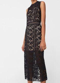 Mango black lace midi sleeveless dress - size M Midi Dresses Uk, Lace Midi Dress, Short Dresses, Robes Midi, Wool Dress, Large Size Dresses, Ideias Fashion, Clothes For Women, Spring Wedding