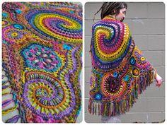 Rainbows Freeform Crochet Schal umwickelt / / Ooak von OfMars