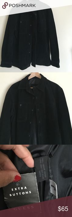 Guess S black suede shirt style button up jacket Trendy and casual gas black suede button up shirt style jacket in a size small. Jacket features two front pockets and button cuff sleeves. Dimensions taken while jacket is lying flat 19 inches across shoulders, 42 inch chest, waist and hips; 25 inch sleeve, and 26 inch length GUESS Jackets & Coats